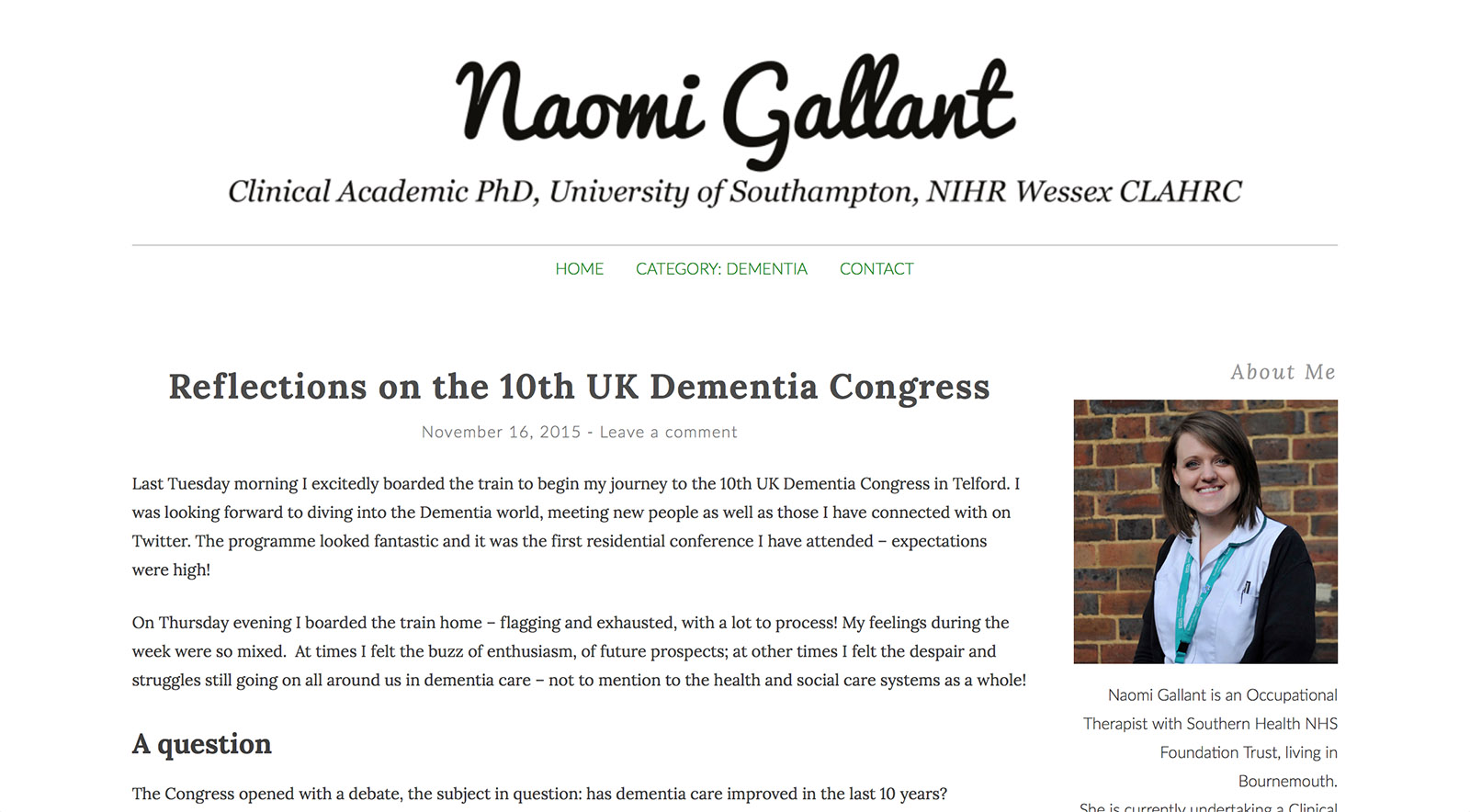 Dementia Care Research Screenshot of blog