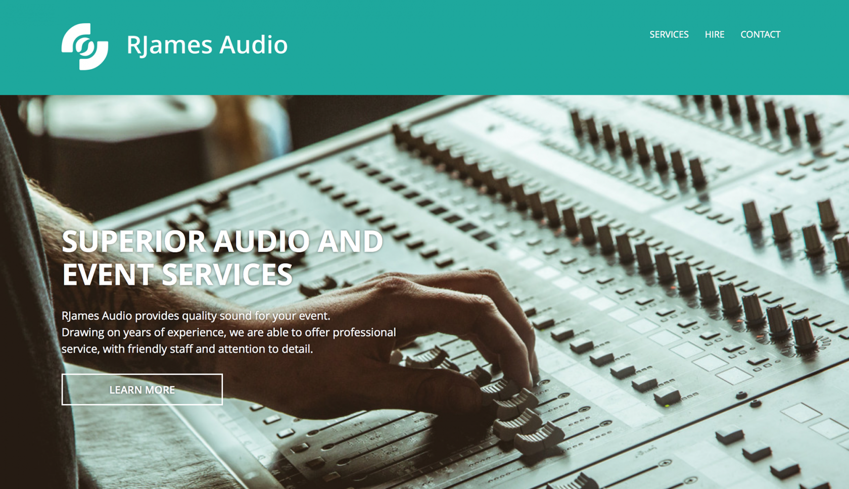 Homepage customised wordpress template RJames Audio