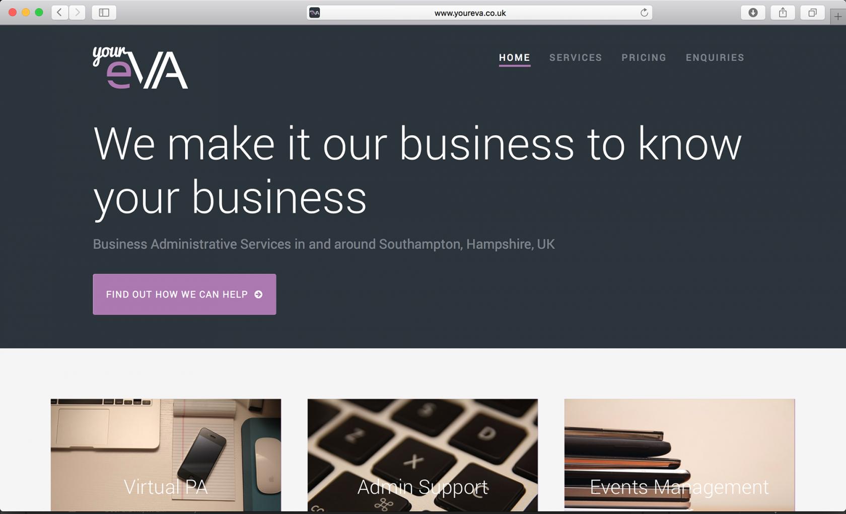 Screenshot of YourEVA Wordpress homepage