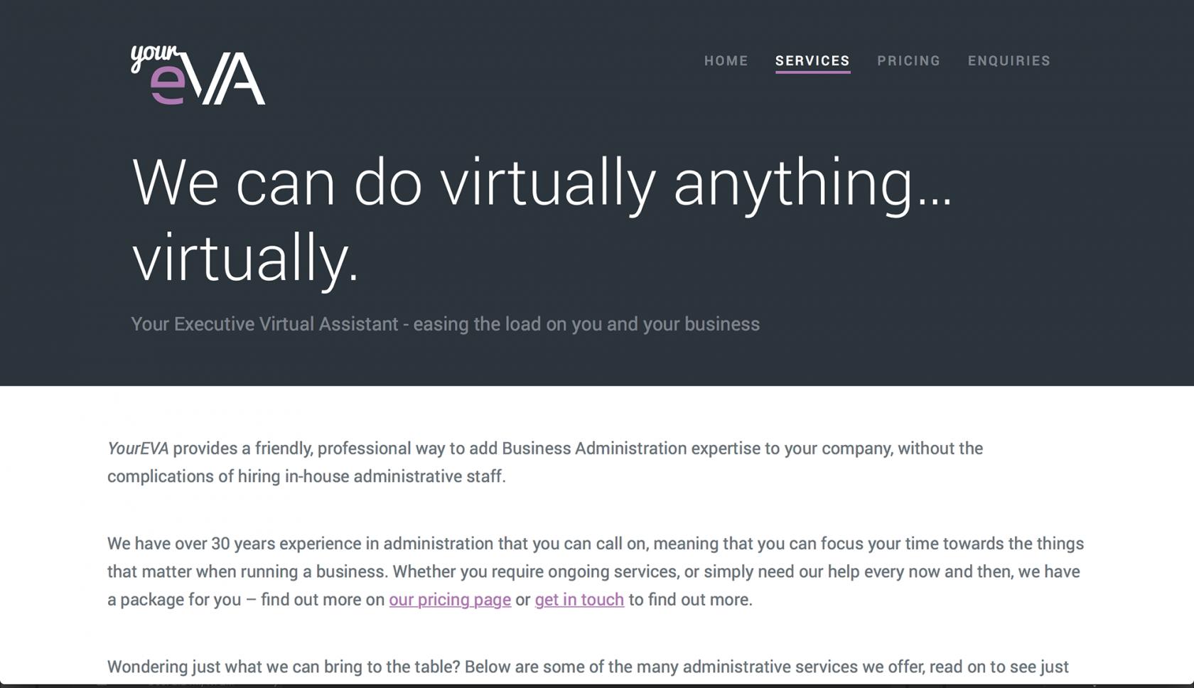 YourEVA services page - Wordpress theme