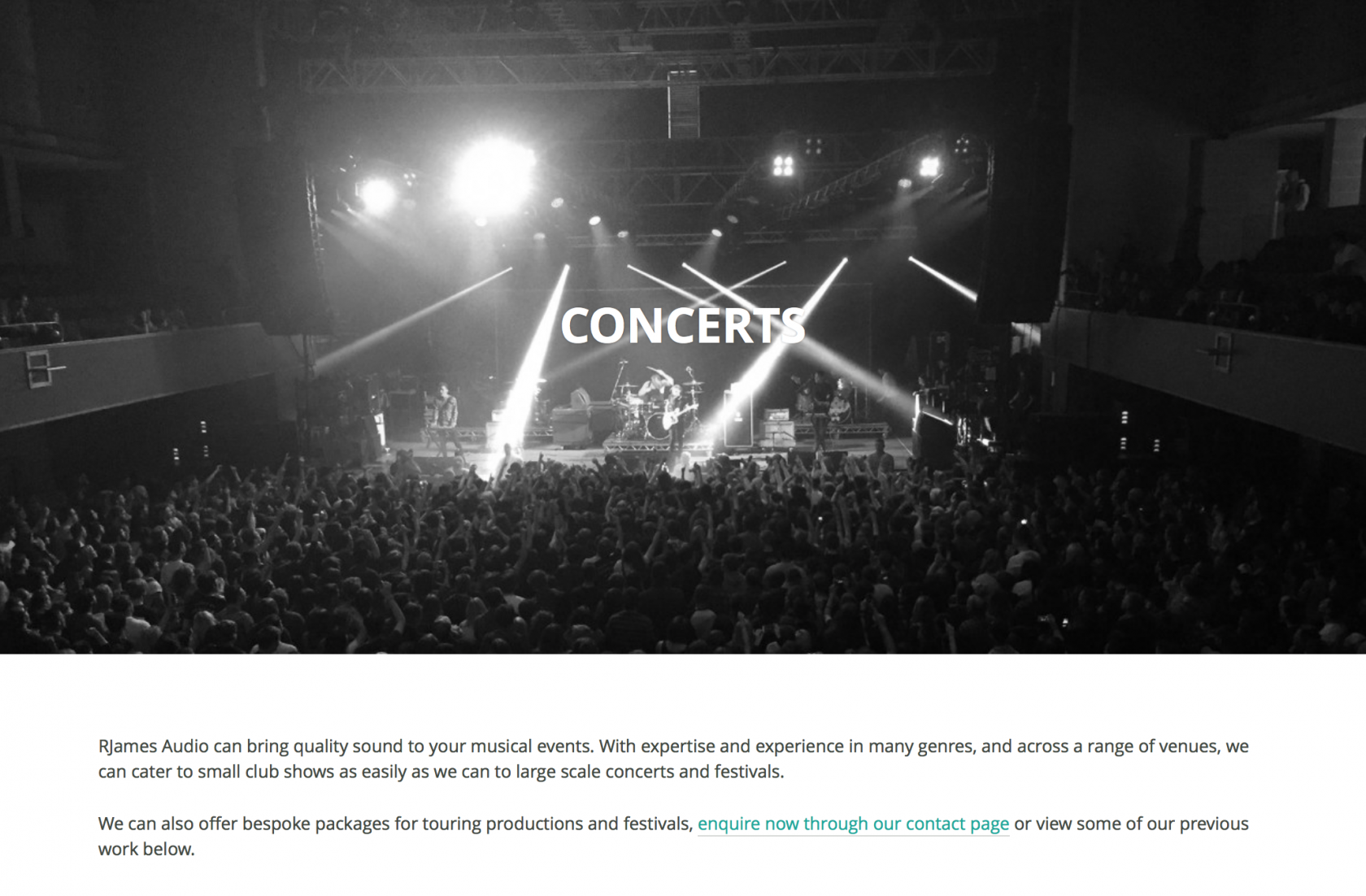 Wordpress Concerts page RJames Audio
