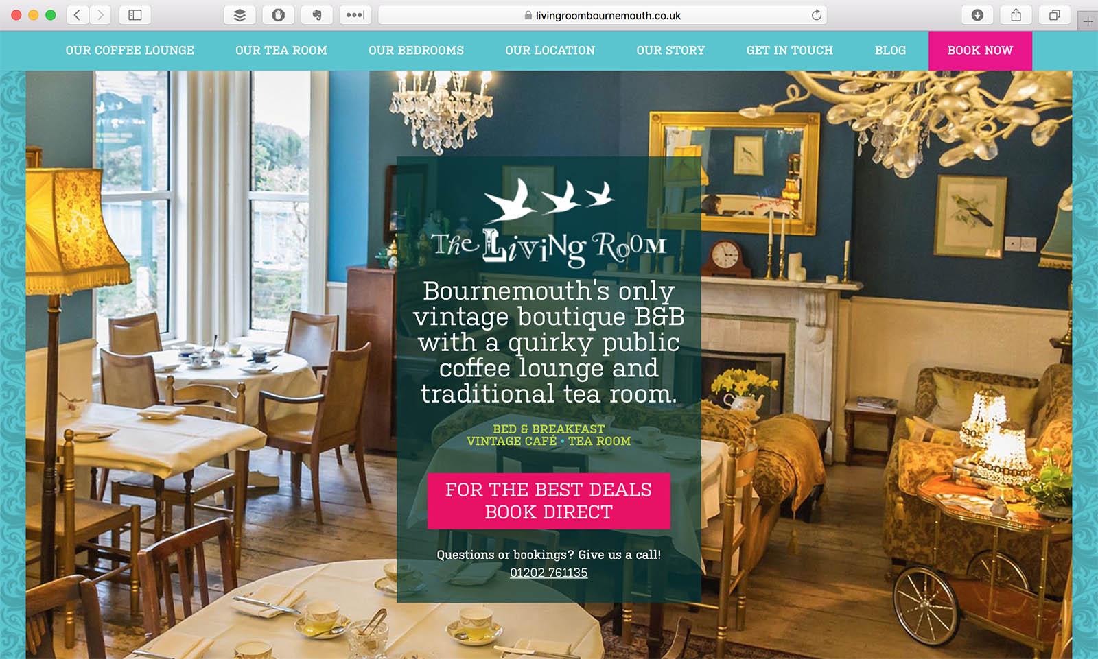 Living Room Website Design Screenshot